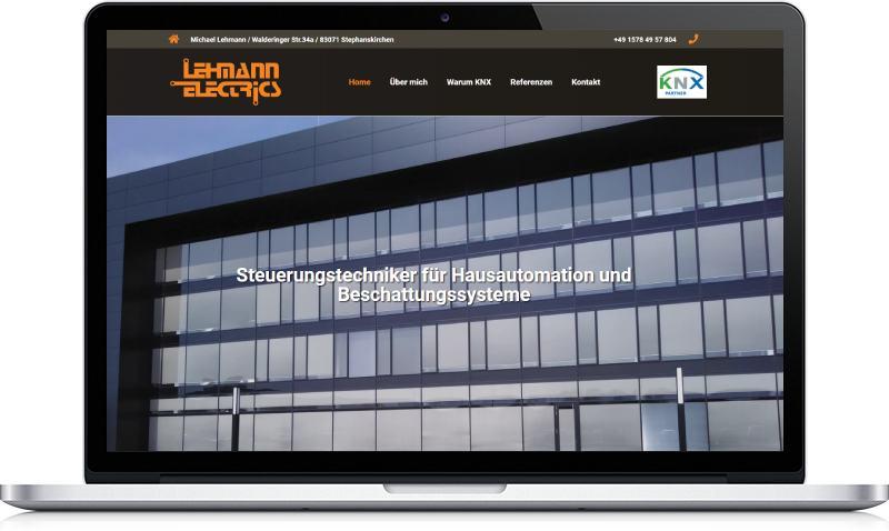 Ukázka webu Lehmann Electrics